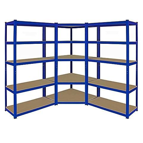 Eckregale/Lagerregale/Garagenregale/WarenhausregaleLagerraumregale/Racking ,1 x Farbe blau Monster T-Rax 90cm Eckregaleinheit und 2 x T-Rax 90cm