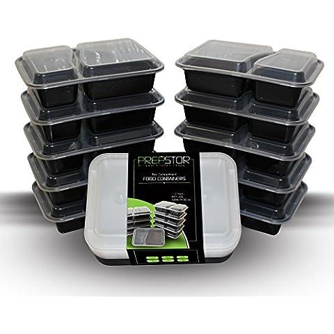 prepstor 2Compartimiento Alimentos Recipientes con tapas, Bento/Almuerzo Box, dividido Plate., congelador, microondas y lavavajillas, a prueba de fugas, 10unidades)