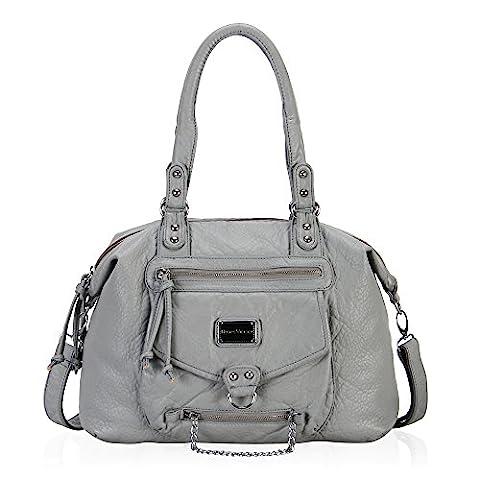 Veevan Ultra Soft Leather Classic Hobo Style Shoulder Handbags (Grey)