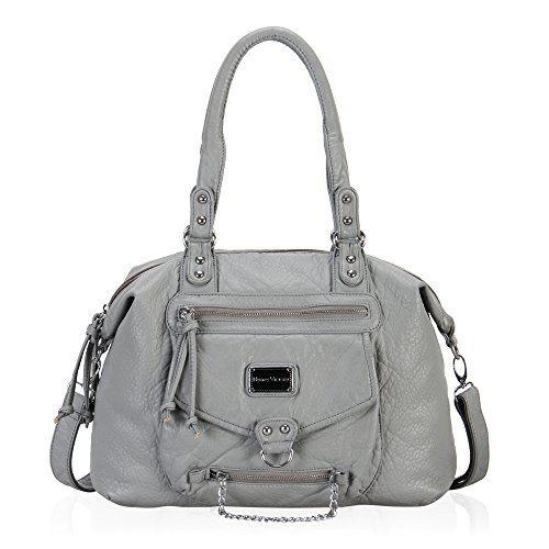 - 51p6l0yzscL - Veevan Ultra Soft Leather Classic Hobo Style Shoulder Handbags (Grey)