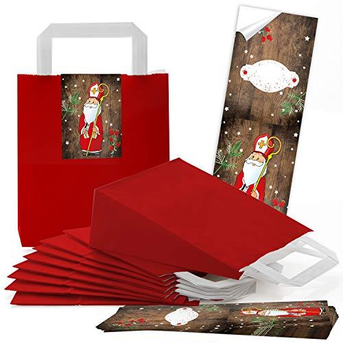 10 rote Kraftpapier Papier-Tüte Geschenktüte mit Henkel Boden 18 x 8 x 22 cm + 10 weihnachtliche Aufkleber beschreibbar HEILIGER NIKOLAUS SANTA rot weiß braun Weihnachten Geschenkverpackung natur