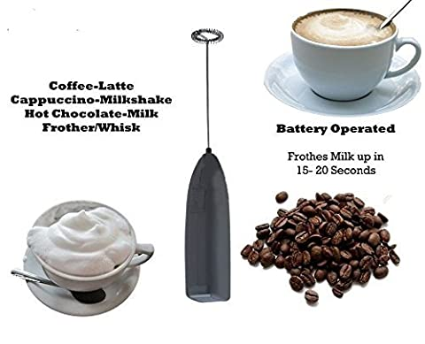 Milk Frother-Stainless steel Electric Handheld Mini Coffee Latte Hot Chocolate Maker Drink Mixer Whisk Rotation Whipped Creamer Egg Beater Espresso Machine