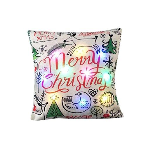 Xshuai 45cm * 45cm waschbar Neuer Entwurfs-multi Farben-Lichter Frohe Weihnacht-Buchstabe-Rotwild-Druck-Kissen LED beleuchtet Kissen-kreativer Druck-Leinen (A / B / C / D / E / F / G / H) (45cm*45cm, H)