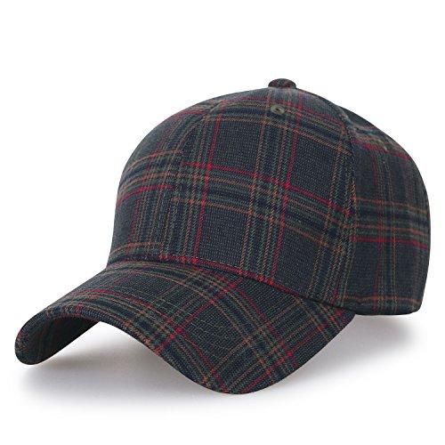ililily District Muster Baseball Cap grosses Ausmaß verstellbarer Trucker Cap Hut , Olive Plaid (Cap Brim Olive)
