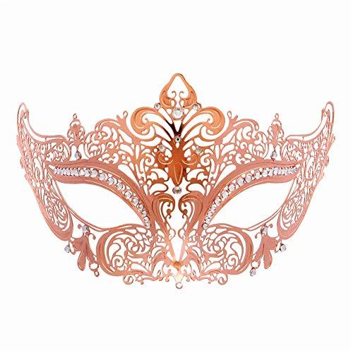 Hnks-AC Maskerade-Maske Vergoldete versilberte Rose Gold High-End-Nachtclub-Ball-Maske Metallbesetzte weibliche Mädchen-Schönheits-High-End-Maske Cosplay-Party-Halloween-Maske Für Dance Cosplay