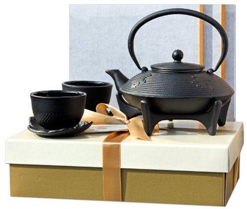 Boîte cadeau W - Star Dessous de Plat Feuille Cups & Théière en fonte Noir/motif calligraphie 0,8 l style japonais