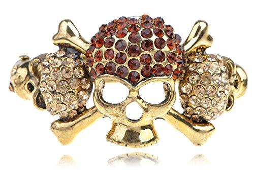 Alilang Frauen Gold Farbton Topaz Farbige Strass Piraten Schädel Knochen Armband Armband