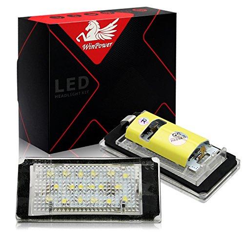 Win Power Kein Erro LED Kennzeichenbeleuchtung Lizenz Glühbirne Versammlung Lampen 6000K Kaltes Weiß E46 2 Tür 1998-2003, 1 Paar