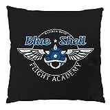 style3 Blue Shell - Flight Academy Kissen mit Füllung Baumwollbezug kart mario, Farbe:Schwarz