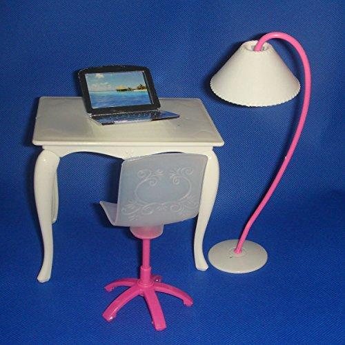 Sharplace 4 Pezzi di Mobili Set per Bambole Barbie da 29cm Lampada Da Tavolo Sedia Di Ufficio Pc in Colore Casuale