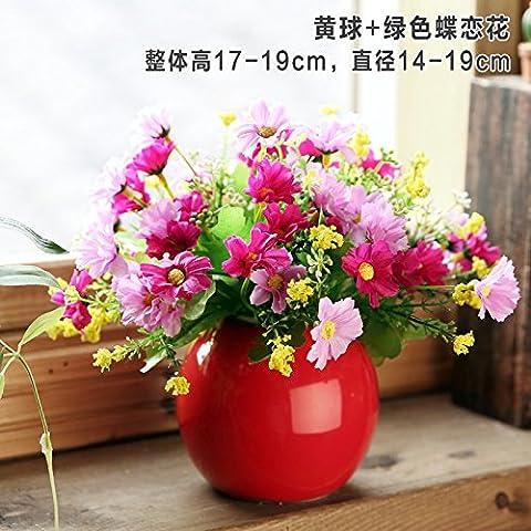 Lx.AZ.Kx Moderne et minimaliste de l'Ornements Décorations Accueil Vases Orbs 24 Dépenser petit paquet d'émulation de fleurs fraîches Fleurs artificielles des ornements de salon,une boule rouge+La fleur de lotus rouge papillon amoureux