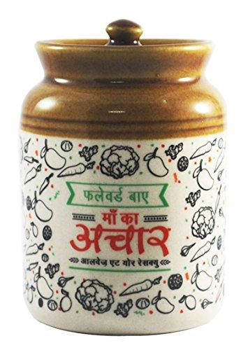 ek-do-dhai stampato Pickle Love Jar Serving pot Indian Kitchen Decor-620,9gram, Ceramica, White And Light Brown, (Jar Kitchen Decor)