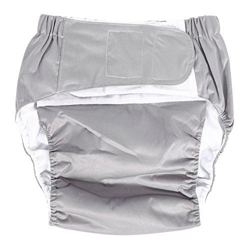 Filfeel Pañales para adultos, apertura de doble bolsillo lavable ajustable, inserto reutilizable, sin fugas, cuidado de la tela del pañal(Gris)