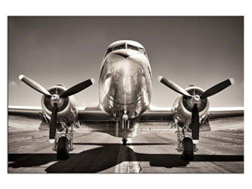 kunst-discounter Propeller Flugzeug Silber Leinwandbilder auf Keilrahmen A06076 Wandbild Poster 120 x 80 cm