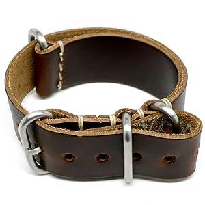 DaLuca NATO Watch Strap – Brown Chromexcel (Matte Buckle) : 24mm