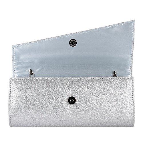 Glitzer Damen Clutch Damentasche Abendtasche Handtasche Brauttasche mit Kette silber
