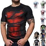 Khroom T-shirt de Compression de Super-héros pour Homme | Vêtement Sportif à Séchage Rapide pour Fitness, Gym, Course, Musculation | Matériel Extensible et Ventilé Anti Transpiration (Deadpool noir S)