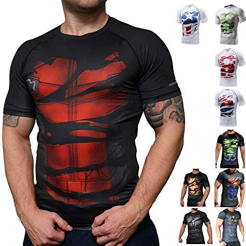 Khroom Hochwertiges Herren Funktionsshirt | Perfekt für Fitness & Gym - Kompressionsshirt im stylischen Helden Design (Deadpool schwarz, M)