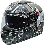 NZI 050286G715 Eurus S Graphics SV Army Casco de Moto, Fondo Militar y Estrella Blanca, Talla 59 (L)