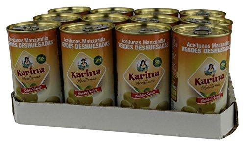 Aceitunas Karina Grüne Manzanilla-Oliven ohne Stein, Dose, 12er Pack (12 x 150 g)