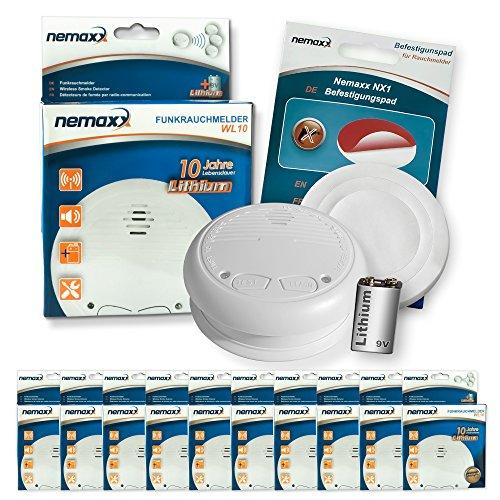 10x Nemaxx WL10 Funkrauchmelder - mit 10 Jahre Lithium Batterie Rauchmelder Feuermelder Set Funk koppelbar vernetzt - nach DIN EN 14604 + 10x NX1 Quickfix Befestigungspad