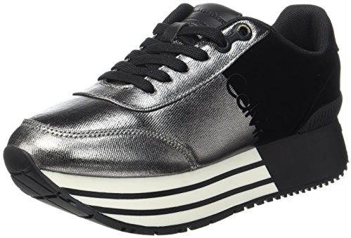 Calvin Klein Carlita Metal Canvas/Flocking, Baskets Femme