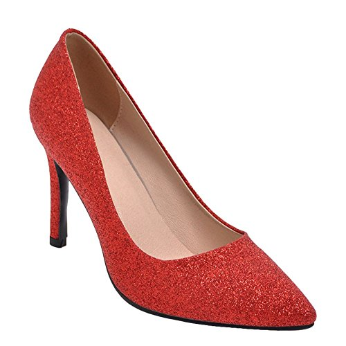 Mee Shoes Damen Stiletto Pailletten Slip On Pumps (43, Silber)