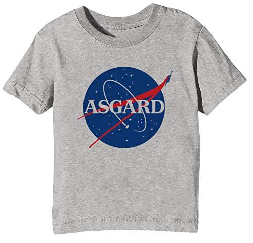 Asgard NASA Niños Unisexo Niño Niña Camiseta Cuello Redondo Gris Manga Corta...