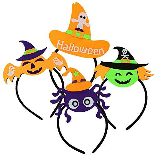com-four® 4x Halloween Diadem mit verschiedenen Motiven für Kinder und Erwachsene - Haarreif für Fasching, Karneval und Halloween - Verkleidung (04 Stück - Motive Mix1)