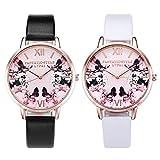 JSDDE Uhren, 2er Set Damen Armbanduhr Schmetterling Blumen Muster Analoge Uhr Basel-Stil Lederband Quarzuhr Kleideruhr für Frauen