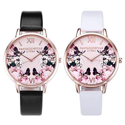 JSDDE Uhren,2er Set Modische Schmetterling Blumen Armbanduhr Basel-Stil Damen Uhr PU Lederband Rosegold Analog Quarzuhr