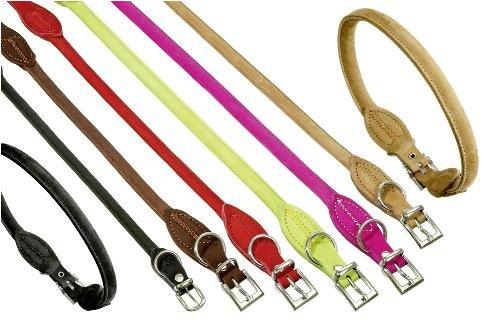 Halsband BUFFALO aus Leder RUND in 6 Farben und 7 Größen (von 32cm bis 60cm) -