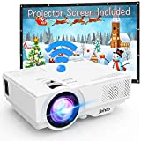 "WIFI Projector Jinhoo 4500 Lumens Wireless Mini Projector [100"" Projector Screen Included]1080P Supported Compatible with Smartphone, Tablet, TV Stick, Game Player, USB, TF Home Theater White."