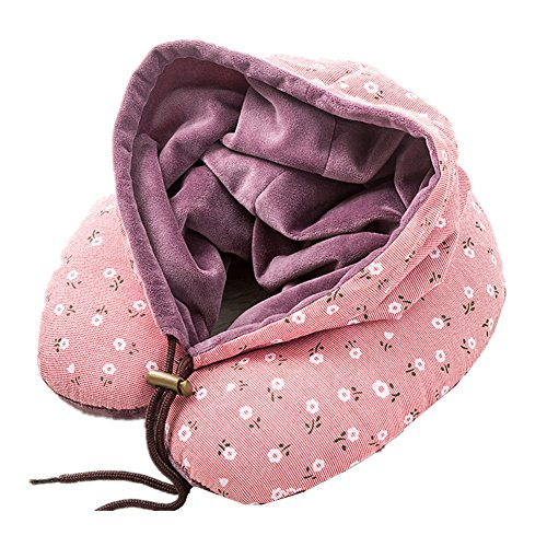 Nackenkissen Blumen Reisekissen Kapuzen Tragbar Nacken U-kissen mit Mütze für Auto Flugzeuge Zug Büro Reise Bequemes und Leichtes (Violett)
