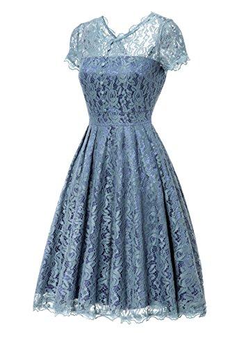 Gigileer Elegant Damen Kleider Spitzenkleid Cocktailkleid Knielanges Vintage 50er Jahr hochzeit Party Airy blau