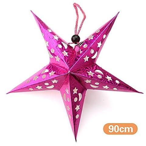 A-szcxtop 90cm/90,2cm Décorations de Noël à suspendre Étoile en papier pentagramme Décoration à suspendre Multicolore étoiles Abat-jour pour et pour les fêtes, rose rouge