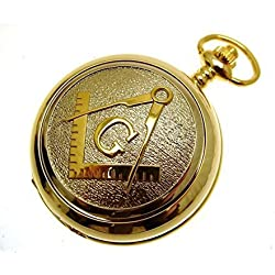 Masonic Pocket Watch Gold Two Tone Design Mother of Pearl Face Design 70