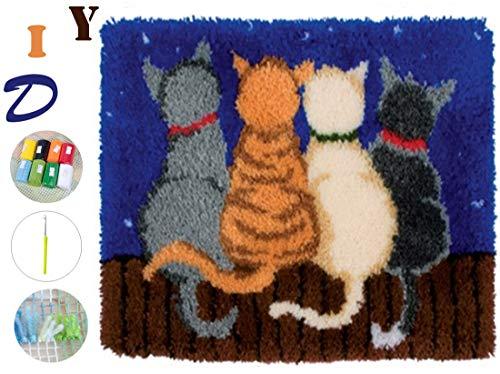 Beyond Your Thoughts Knüpfteppich für Kinder und Erwachsene zum Selber Knüpfen Katze Teppich Latch Hook Kit Child Rug Cat 285 53 * 38 cm -