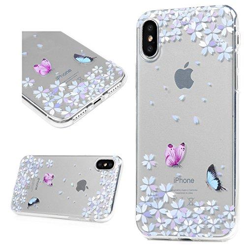 MAXFE.CO TPU Silikon Hülle für iPhone X Handyhülle Schale Etui Protective Case Cover Rück mit Blumen Skin TPU Kantenschutz Gemalt Design Schutzhülle Schmetterling