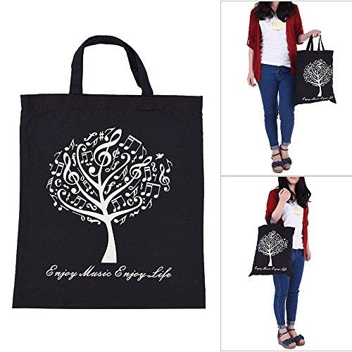 ammoon Musikalische Baum Muster Waschbare Baumwollstoff Handtasche Musik Taschen Schulter Lebensmittelgeschäft -Einkaufstasche für Studenten Mädchen