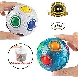 2pcs bola del arco iris Magic Ball Toy Puzzle Magic Rainbow Ball para juguetes educativos para niños adolescentes adultos Stress Reliever Malloom Pop Luminous Stress Reliever azul y Blanco por Proacc