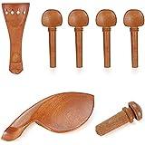 Neewer® Estándar para violín tamaño 4/4violín partes, incluye: (1) Chinrest + (1) cordal + (4) clavijas + (1) botón, de madera de Jujube Madera con duro exquisita mano de obra
