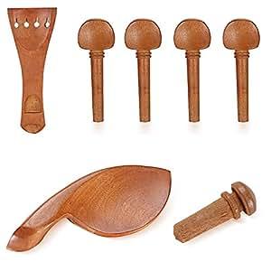 Neewer® Standard Accessori per Violino per 4/4 Violino, inclusi: (1) Mentoniera + (1) Bottone + (4) Pirolo + (1) Cordiera, in Legno di Giuggiolo Duro Fatti con Mestiere Delizioso