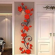 MORESAVE Wall Sticker Rosa Fiore acrilico 3D si dirige in camera TV Indietro decorazione della parete fai da te - Decorazione Della Parete Pittura Acrilica