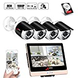 ANRAN POE Überwachungskamera-System 1080P 8Channels 12inch LCD-Videogerät DVR-Ausrüstungen w/4PCS 2.0 Megapixel Netz PoE CCTV-Kugel-Kamera 3.6mm Linse im Freien IP66 1TB Innenfestplatte