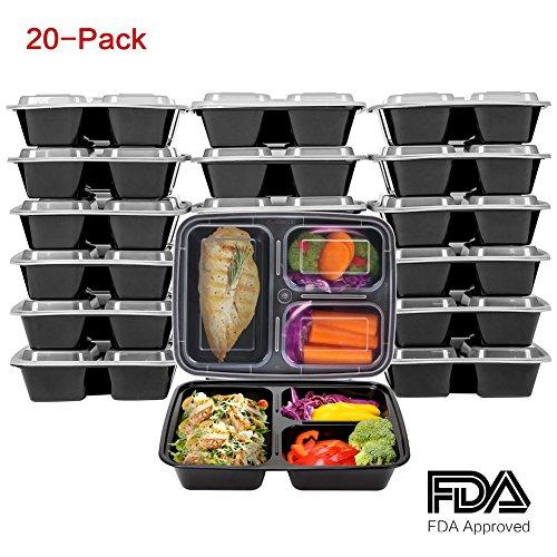 [20er Pack] 3 Fach Meal Prep Container, Kitchen Komforts Bento-Box Lunch Tablett Essensbehälter, BPA-frei Lunch Box Set mit Deckel, Wiederverwendbar, Mikrowellen- und Gefrierschrankgeeignet, Schwarz