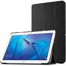 Huawei MediaPad T3 10 Funda Case, Infiland Ultra Delgada Tri-Fold Case Cover PU Cuero Cascara con Soporte para Huawei MediaPad T3 10(9.6 Pulgada)Tablet(Negro)
