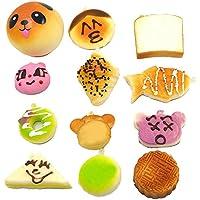 Beetest® 12 pz Mini Squishy Kawaii Soft Cibo Portachiavi / Kawaii Morbido Simulato Pane Ciondolo (Mini Cellulare Schiuma)