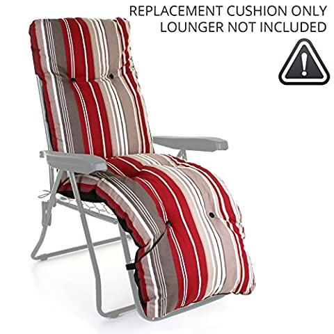 Sun Lounger Reclining Recliner Chairs Outdoor Garden Patio Relaxer with Cushion (Replacement Cushion ONLY, Red