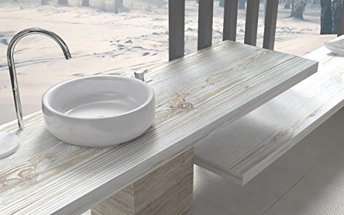 Ve.ca-italy mensole lavabo shabby chic - quercia sherwood su misura 100% made in italy resistenti all'acqua incluse staffe a scomparsa (140x50x6 cm, shabby chic)